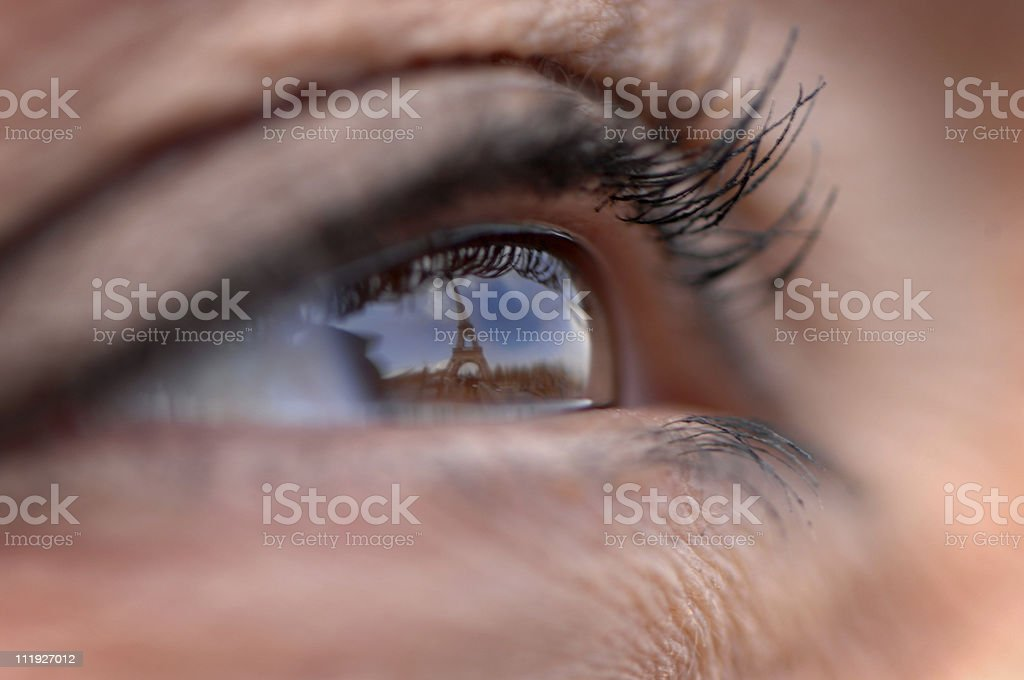 Eiffel Tower Reflected in Close Up Woman's Eye royalty-free stock photo