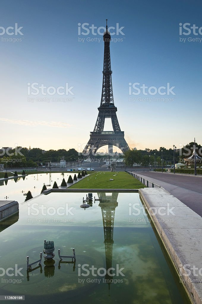Eiffel Tower Reflected, Paris royalty-free stock photo