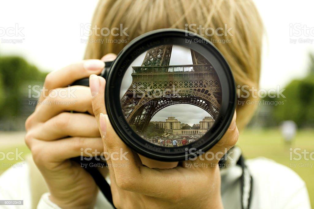 Eiffel tower reflection royalty-free stock photo