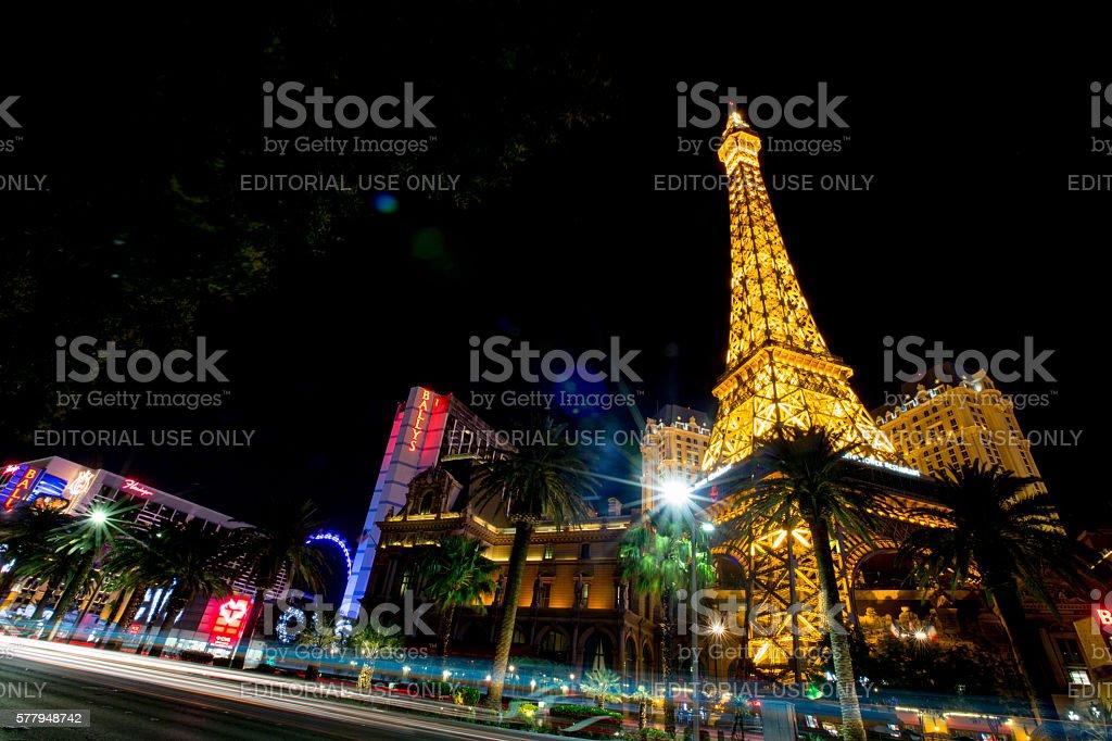 Eiffel Tower Replica and Las Vegas skyline at night stock photo