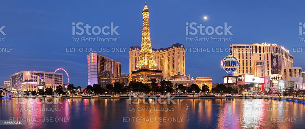 Eiffel Tower Replica + Hotels - Las Vegas Strip stock photo