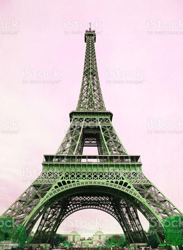 Eiffel Tower - retro postcard styled stock photo
