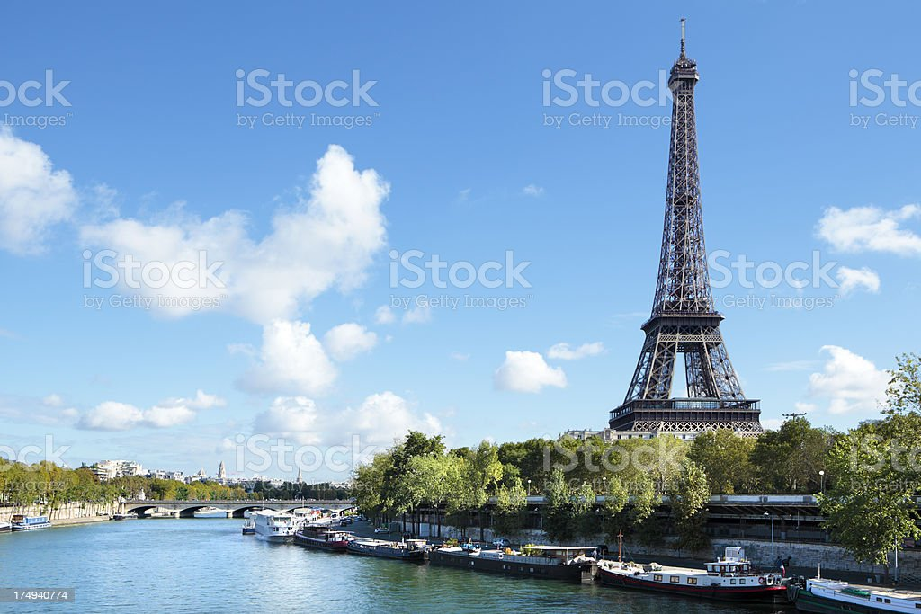 Eiffel Tower river view stock photo