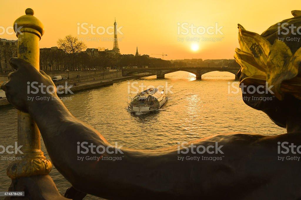 Eiffel Tower since Alexandre III Bridge in Paris, France stock photo