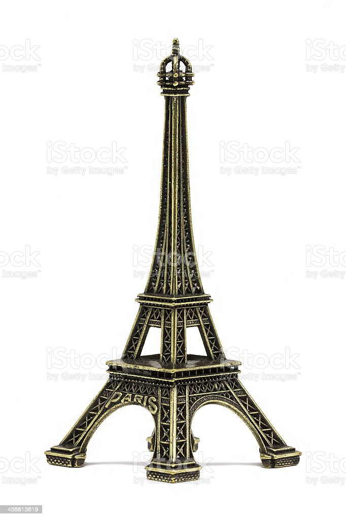 Torre Eiffel souvenir, in bianco foto stock royalty-free