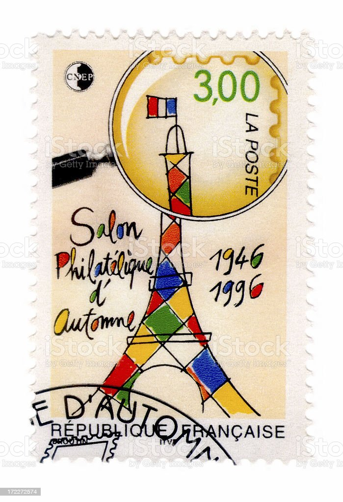 Eiffel tower stamp stock photo