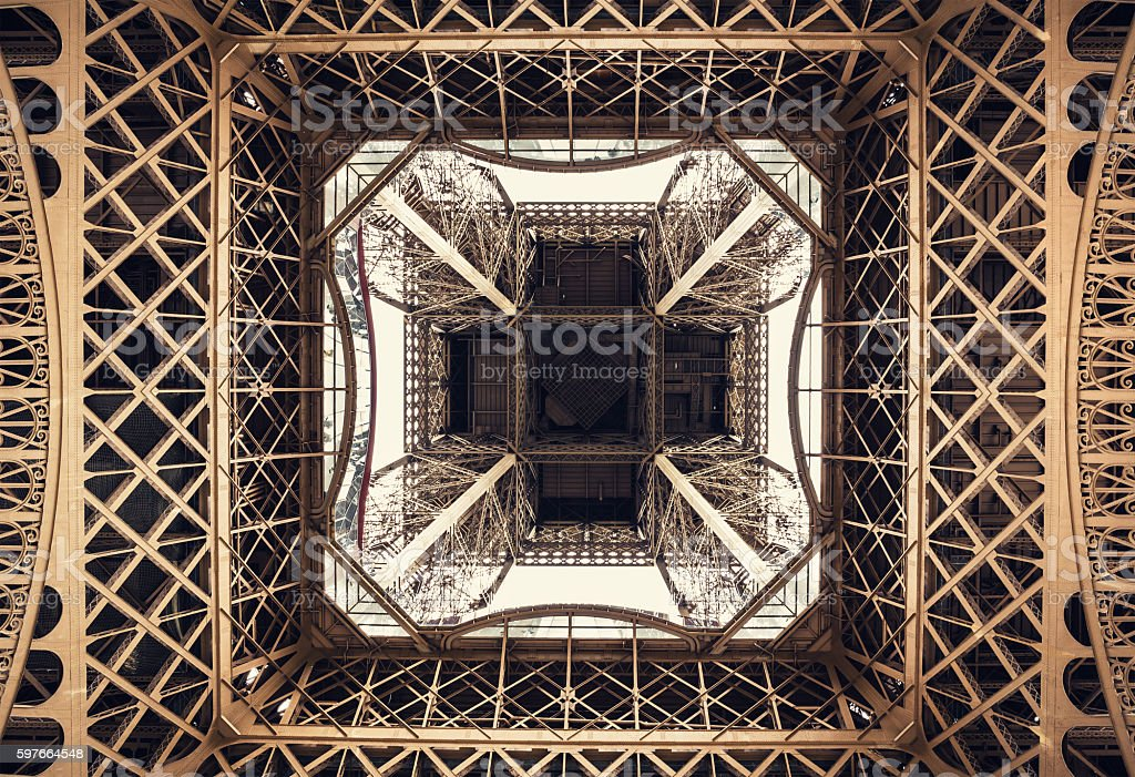 Eiffel Tower Structure From Below stock photo