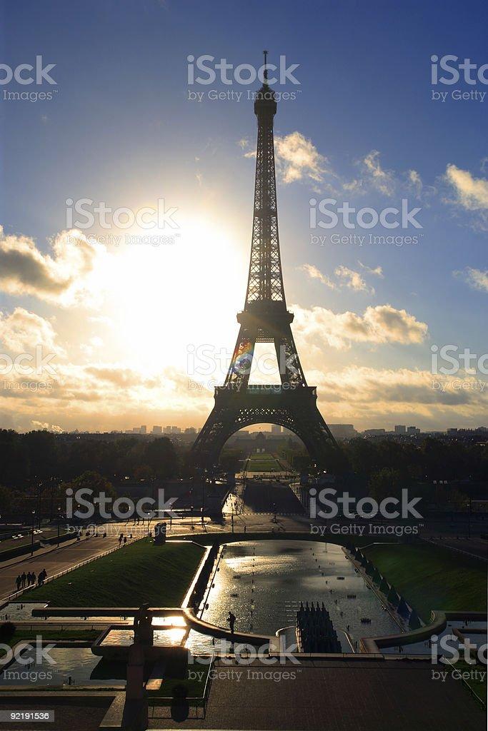 Eiffel Tower sunrise royalty-free stock photo
