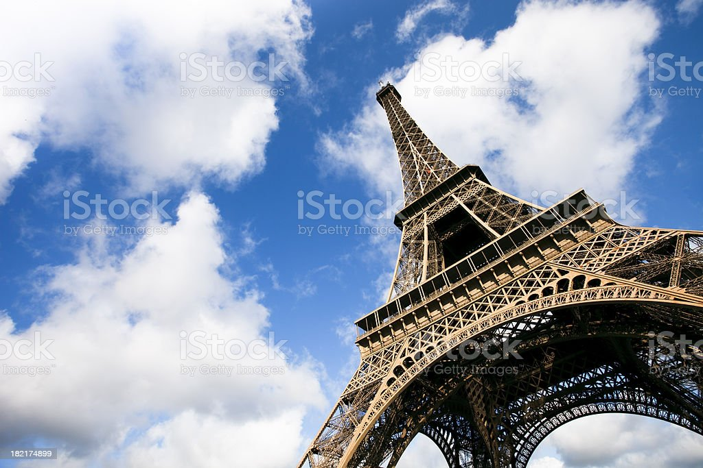 Eiffel tower under clouds and blue sky XXXL royalty-free stock photo