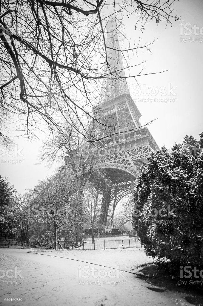 Eiffel Tower under snow stock photo