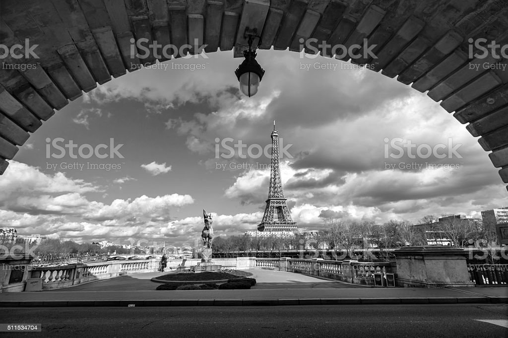 Eiffel tower view from Bir Hakeim bridge, Paris, France stock photo
