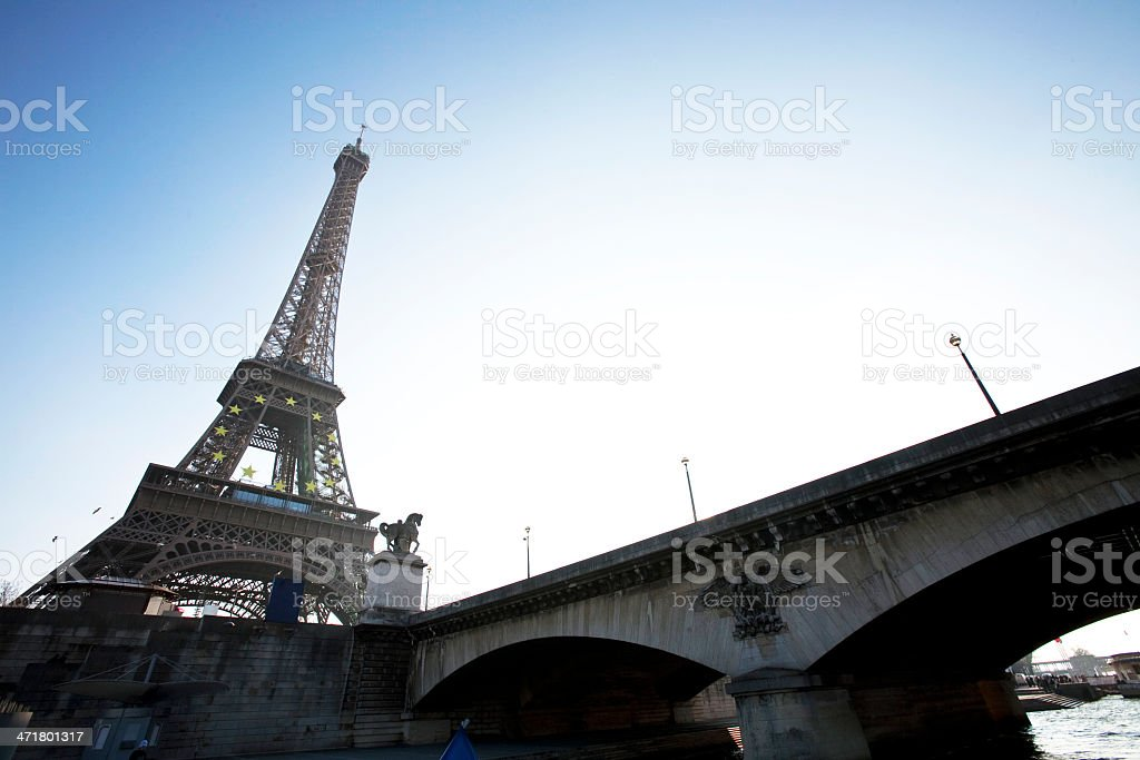 Eiffel tower view from seine river royalty-free stock photo