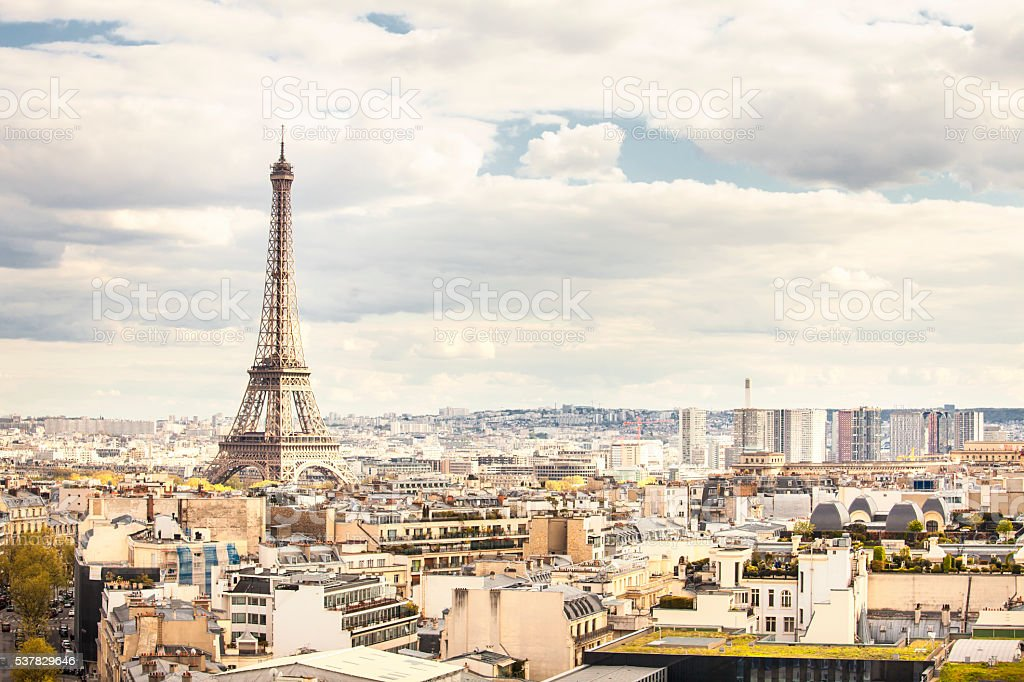 Eiffel tower view from the top of Arc de Triomphe stock photo
