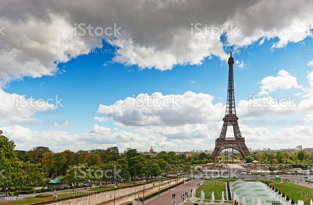 Eiffel Tower viewed through the Trocadero Fountains stock photo