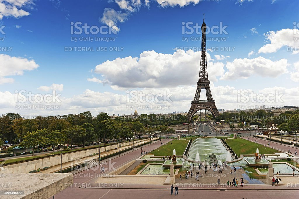 Eiffel Tower viewed through the Trocadero Fountains royalty-free stock photo