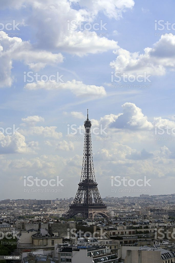 Eiffel Tower with Clouds and Blue Sky, Paris stock photo