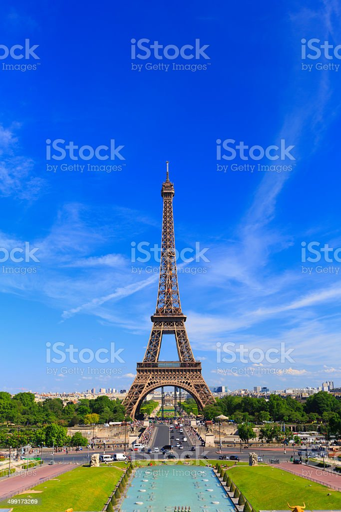 Eiffel tower with Trocadero  Gardens in front -  Paris, France royalty-free stock photo
