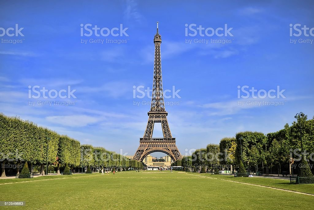 Eiffel Tower with vibrant blue sky stock photo