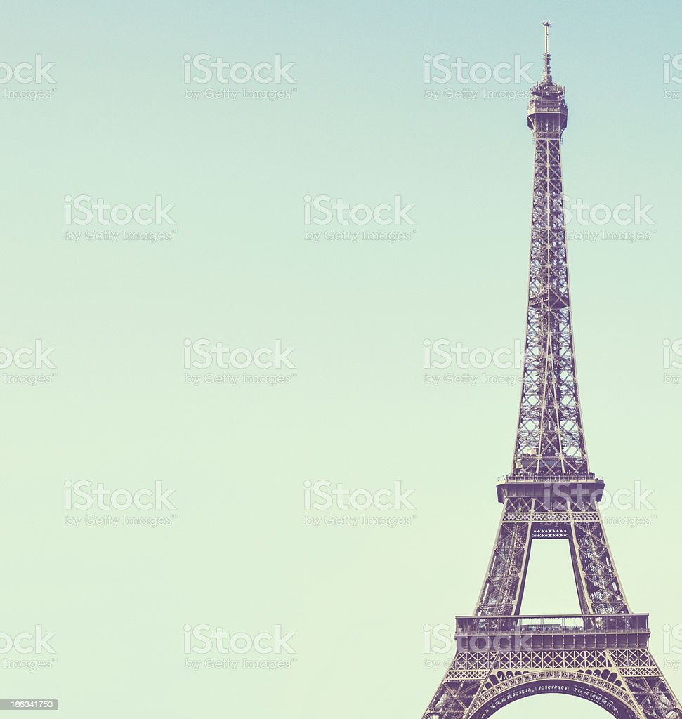 Eiffel toweragainst blue sky vintage image stock photo