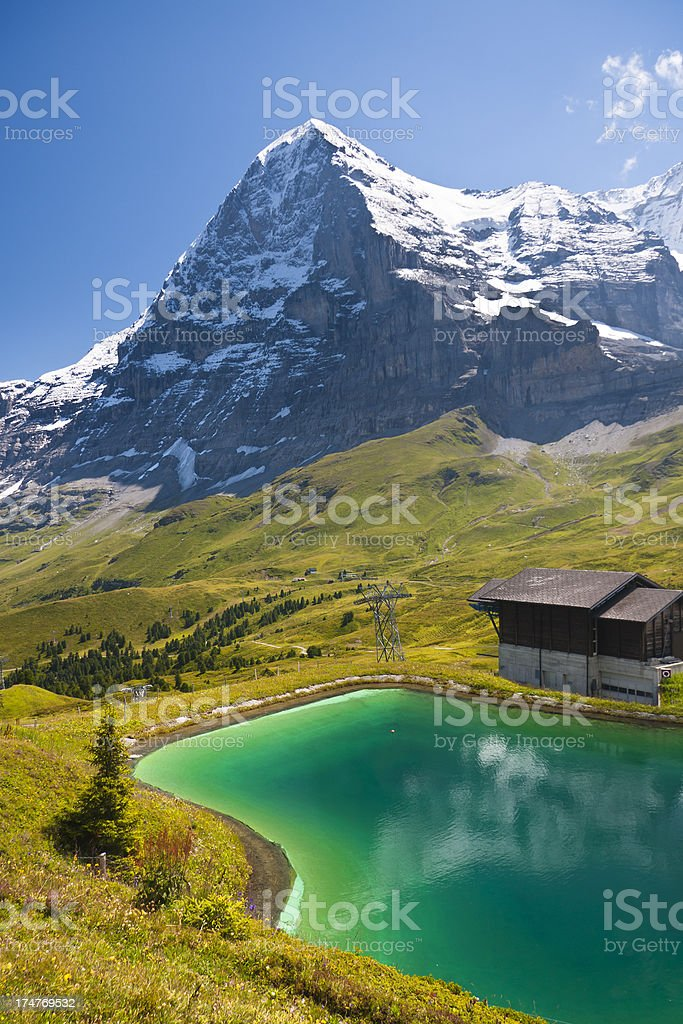 Eiger And Fallbodensee, Swiss Alps royalty-free stock photo