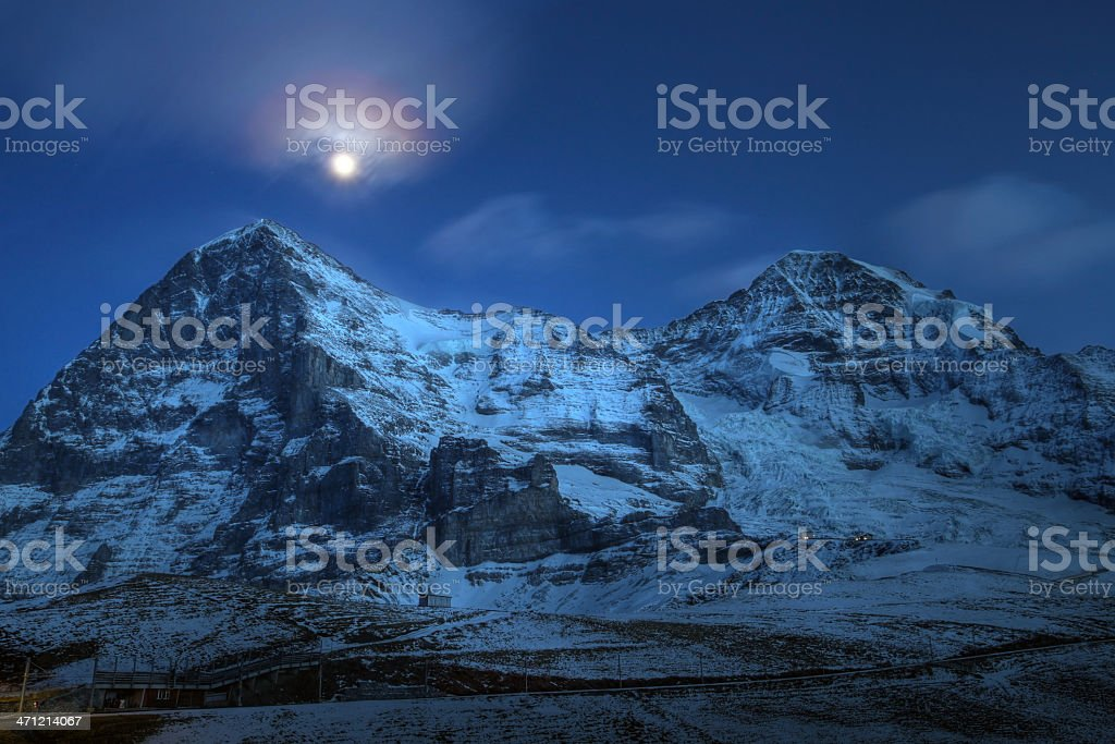 Eiger and Moench mountain peaks at night, Switzerland royalty-free stock photo
