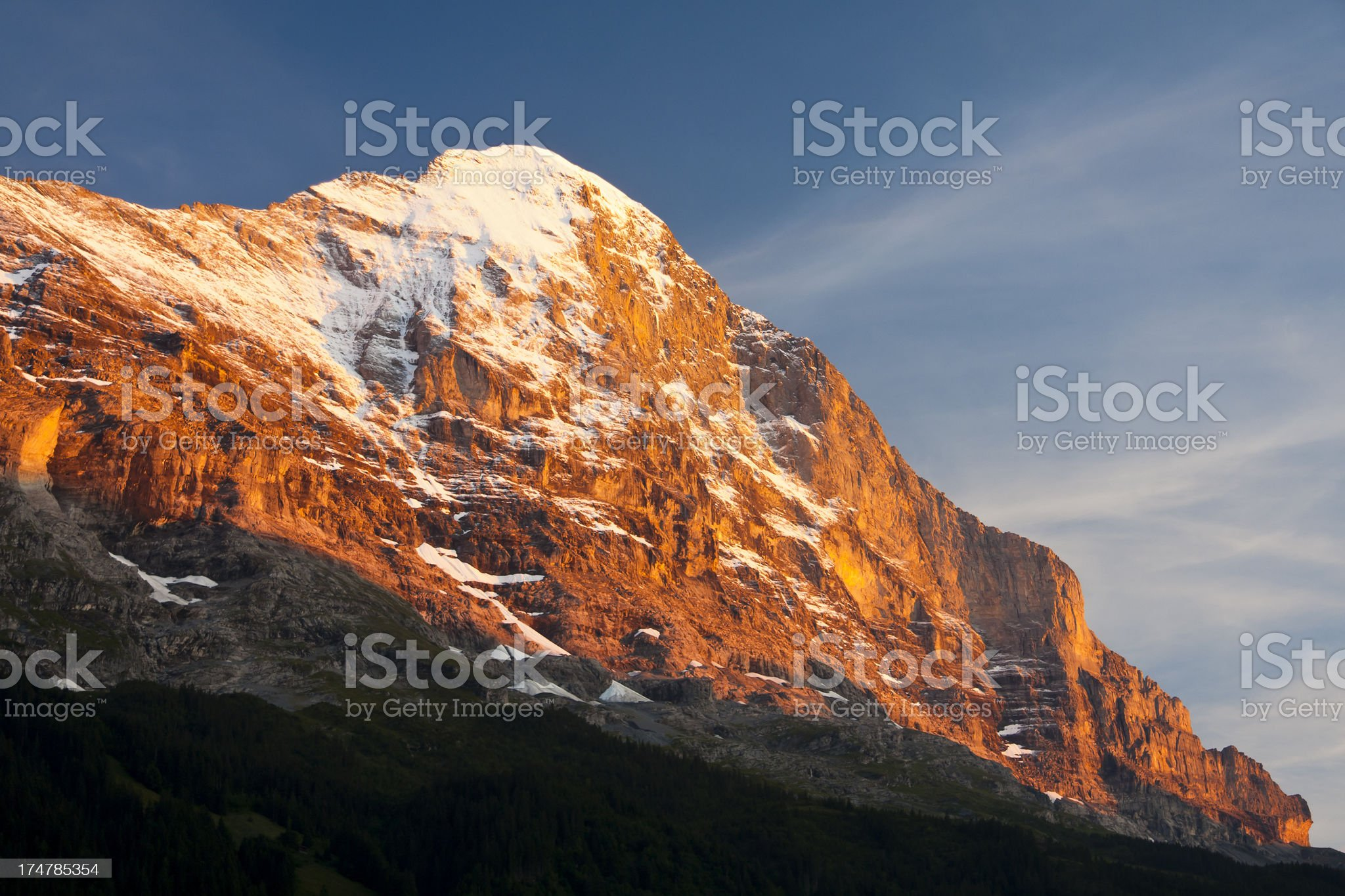 Eiger Evening View, Swiss Alps royalty-free stock photo