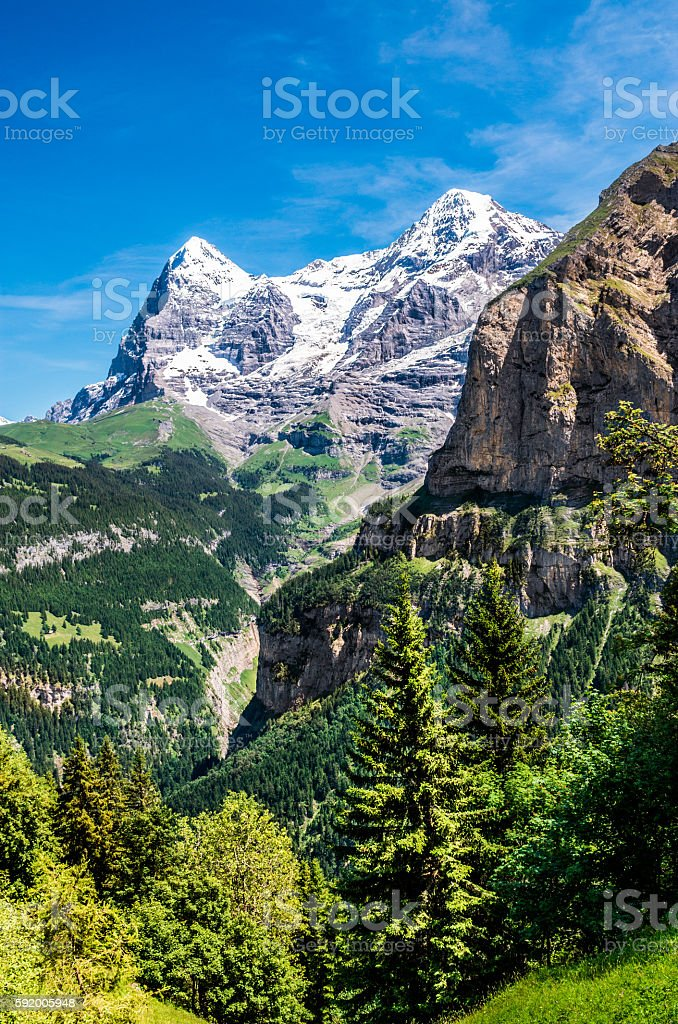 Eiger from Murren, Switzerland stock photo