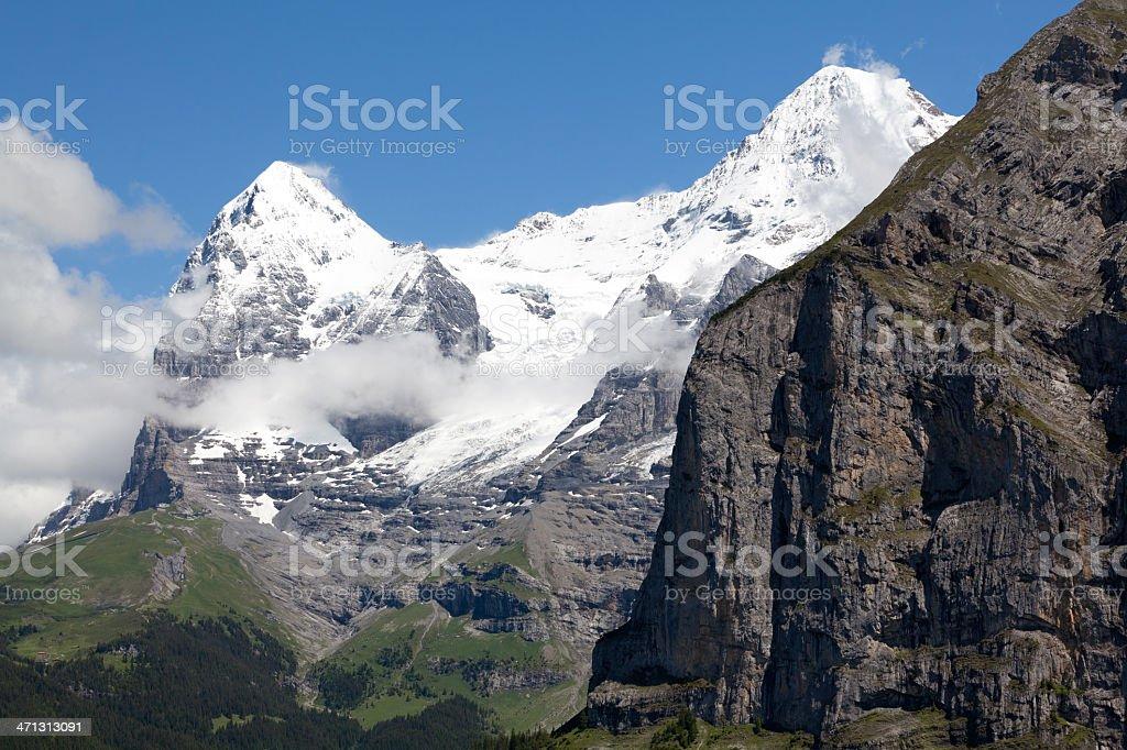 Eiger, M?nch and Jungfraubahn Rack Railway, Bernese Alps, Switzerland stock photo