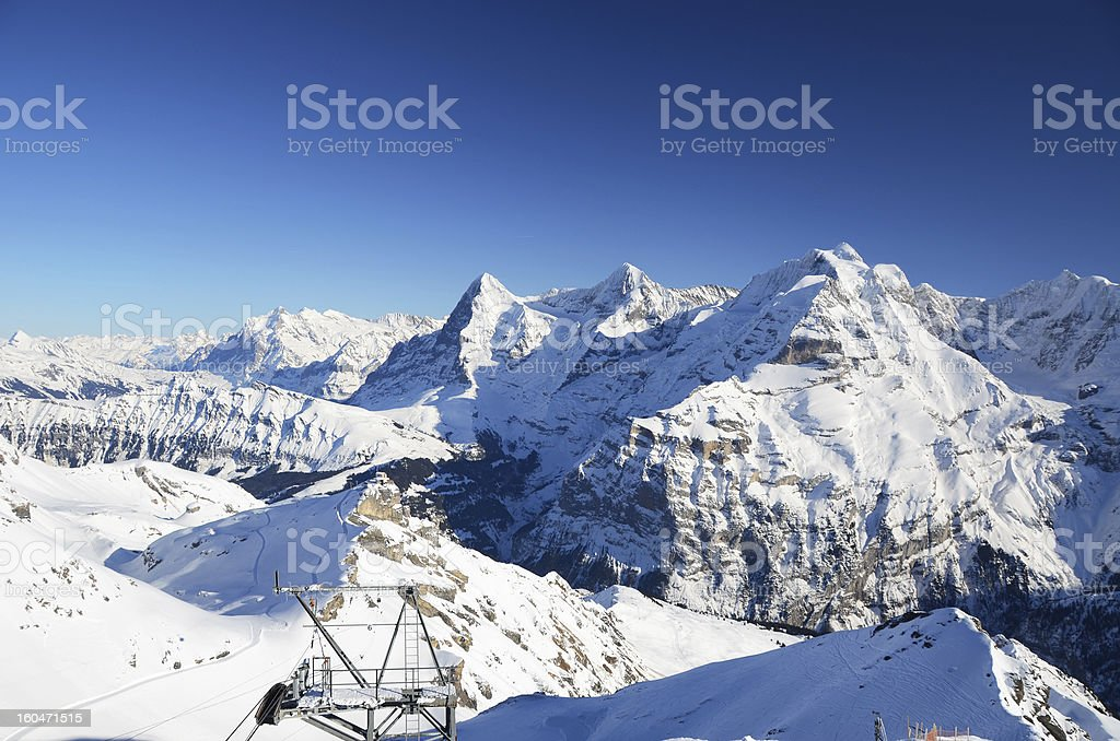 Eiger, Moench and Jungfrau, famous Swiss mountain peaks stock photo