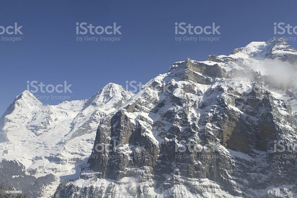 Eiger, Monch and Jungfrau mountains in the Swiss Alps, Switzerla royalty-free stock photo