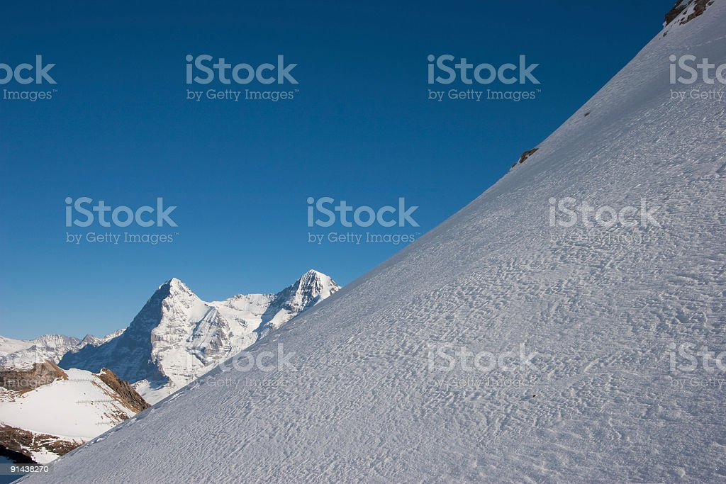 Eiger Nordwand seen from a snow field at the Schilthorn stock photo