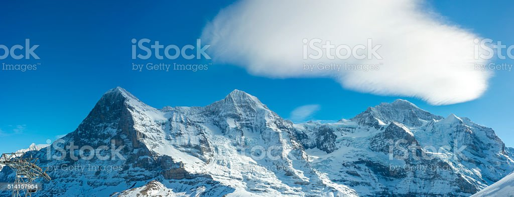 Eiger North Face, Jungfraujoch and Jungfrau panorama. stock photo
