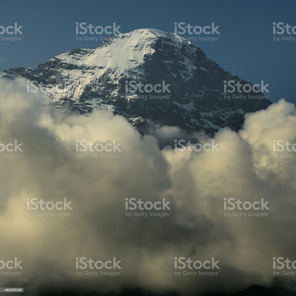 Eiger north face white spider hanging glacier stock photo