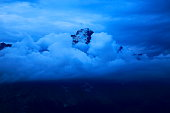 Eiger pinnacle, dramatic storm clouds evening, Bernese Oberland, Swiss Alps