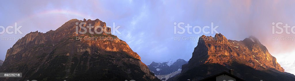 Eiger Sunset and Rainbow royalty-free stock photo