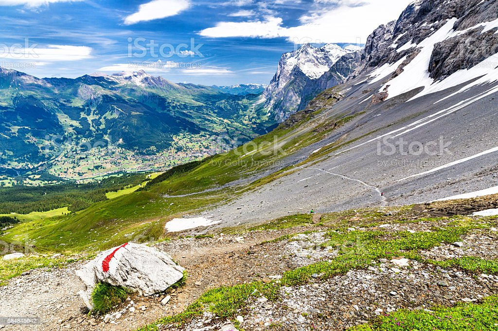 Eiger Trail under the Eiger North Face stock photo