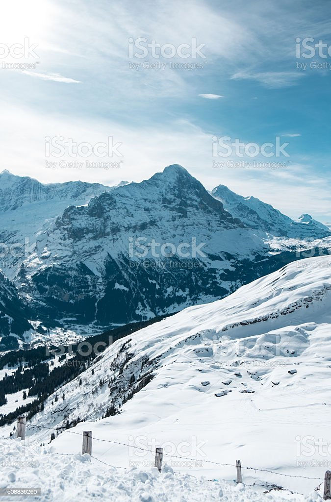 Eiger View Grindelwald stock photo