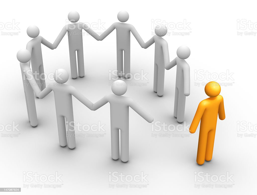 Eight 3D stick people hold hands reaching out to yellow one royalty-free stock photo