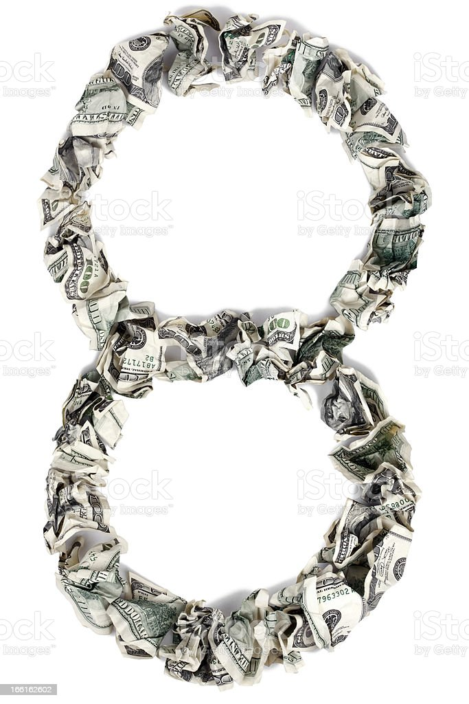Eight 8 - Crimped 100$ Bills royalty-free stock photo