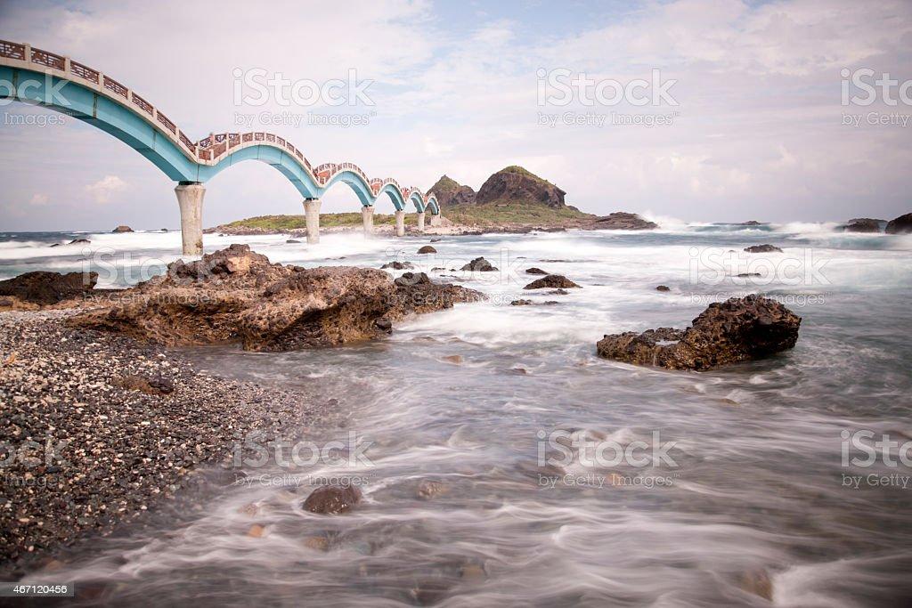 Eight arches, Sansiantai Dragon Bridge, motion blur, Taitung, Taiwan stock photo