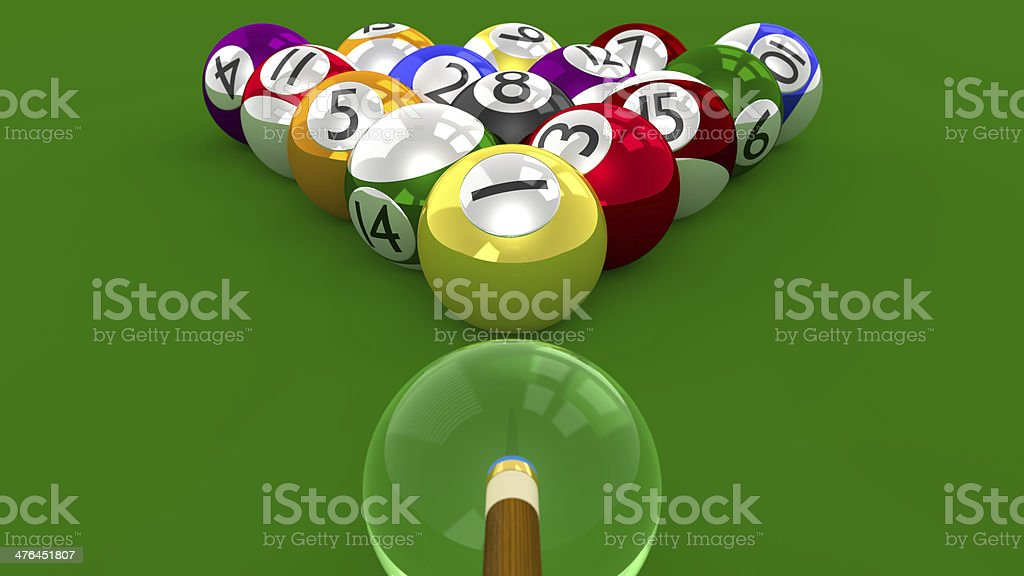 Eight Ball Pool 3D Game - Racked for Break Shot royalty-free stock photo
