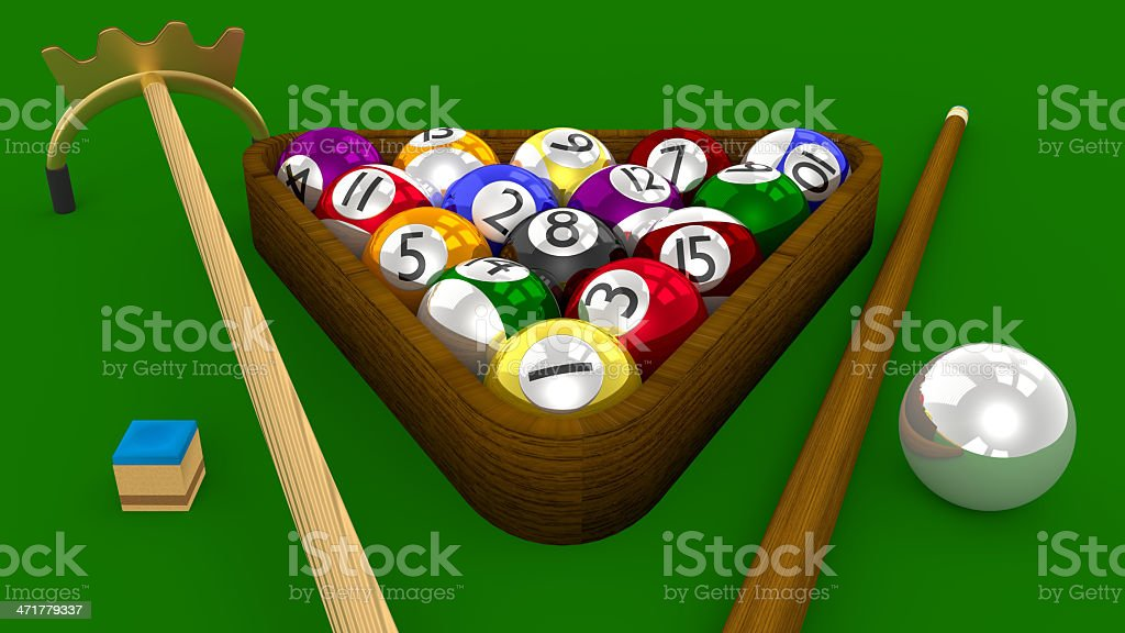 Eight Ball Pool 3D Game with Accessories on Green Table stock photo