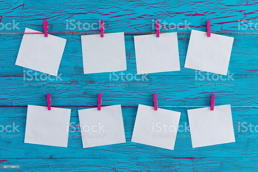 Eight blank white memo pads stock photo