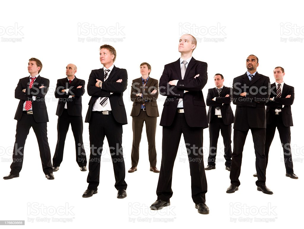 Eight business men looking to side on white background  stock photo