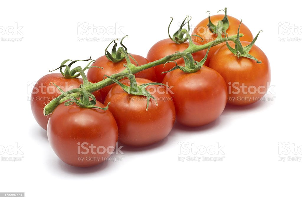 Eight Cherry Tomatoes on a white background stock photo