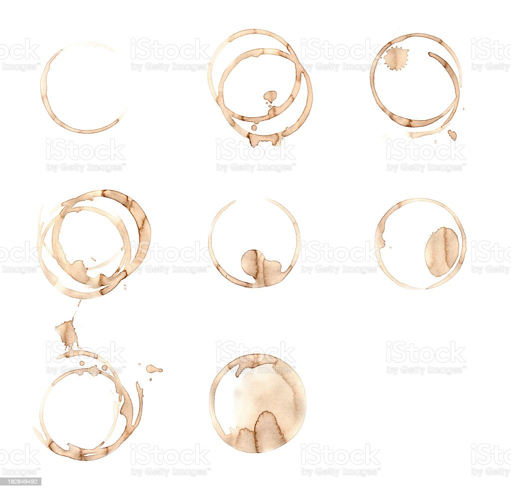 Eight Coffee Stains royalty-free stock photo
