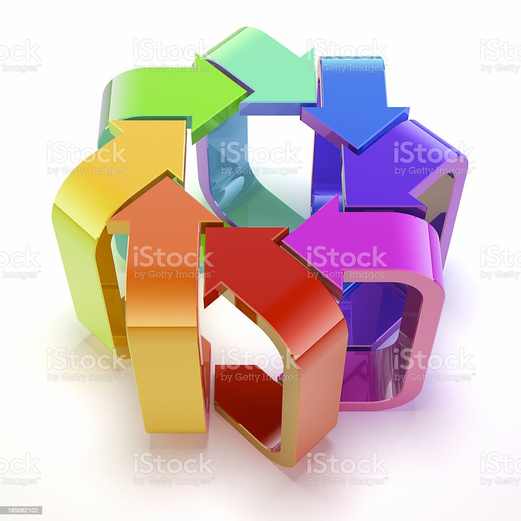 Eight colourful arrows. royalty-free stock photo