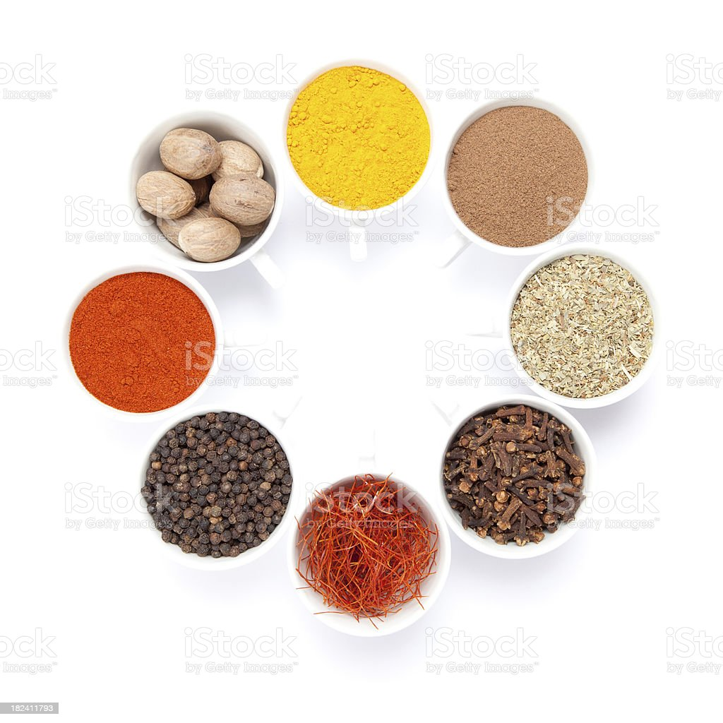 Eight different spices royalty-free stock photo