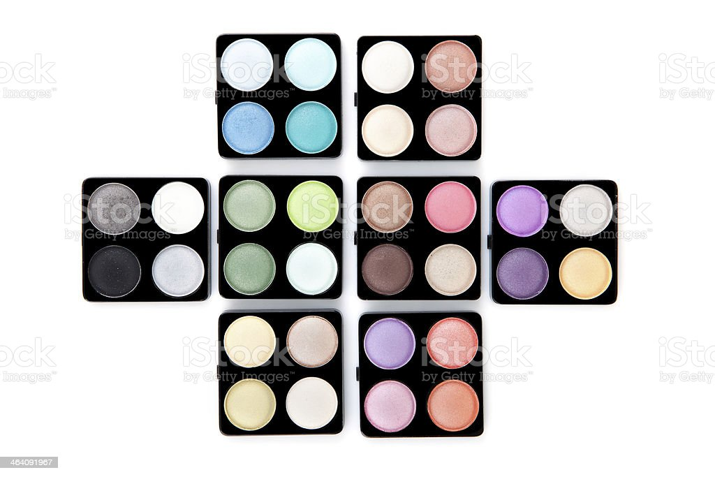 Eight eyeshadow palettes royalty-free stock photo