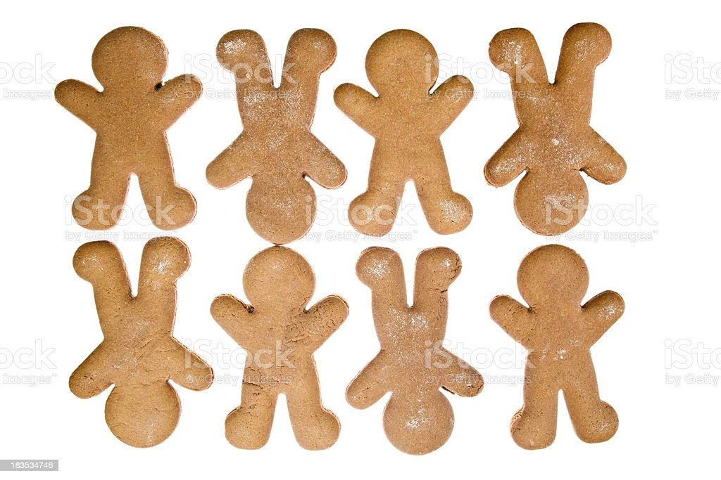 Eight Gingerbread Men Isolated stock photo